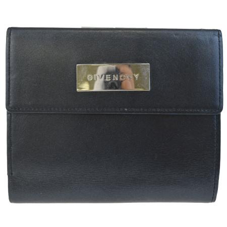 【中古】 中美品 ジバンシー GIVENCHY 三つ折り 財布 がま口 ブラック レザー 07BD040