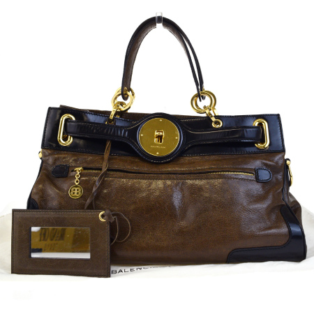 送料無料 【中古】 バレンシアガ BALENCIAGA チェーン ハンドバッグ ブラウン ブラック レザー ハンドミラー 保存袋付き 65ED156
