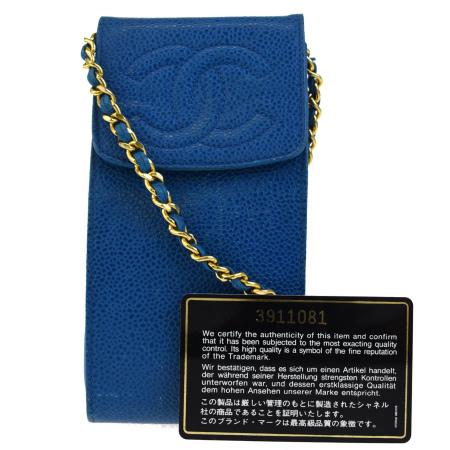 送料無料 【中古】 シャネル CHANEL チェーン ショルダーバッグ ポシェット ココマーク キルティング ライトブルー レザー 16ED174