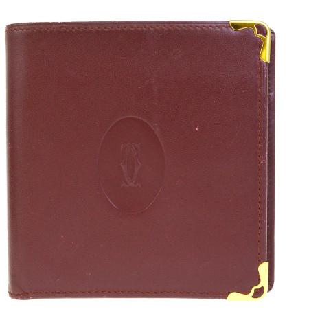 【中古】 中美品 カルティエ Cartier マスト 二つ折り 財布 ボルドーレッド レザー 08BE195