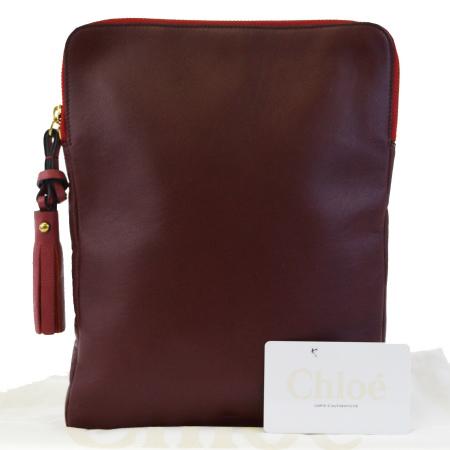 送料無料 【中古】 超美品 クロエ Chloe iPadケース バッグ フリンジ ボルドーレッド レザー 保存袋付き 08ED957