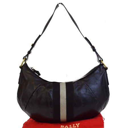 送料無料 【中古】 バリー BALLY ショルダーバッグ ブラウン レザー 保存袋付き 02ED998