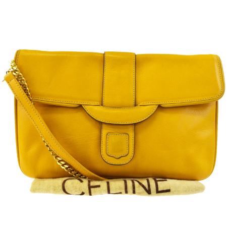 送料無料 【中古】 セリーヌ ヴィンテージ CELINE チェーン ショルダーバッグ クラッチバッグ 2WAYバッグ 黄色 レザー 保存袋付き 30BC752