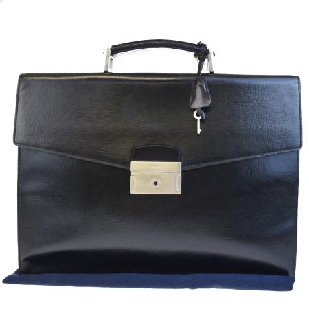 送料無料 【中古】 プラダ PRADA ブリーフケース ビジネスバッグ ハンドバッグ 書類かばん ブラック レザー 69BE707