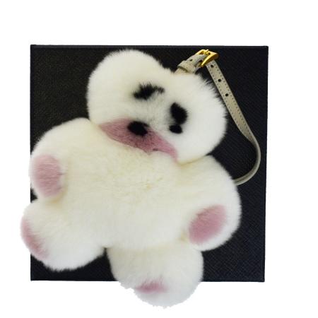 送料無料 【中古】 超美品 プラダ PRADA バッグチャーム キーホルダー クマ ホワイト ピンク ファー 保存箱付き 60BE982