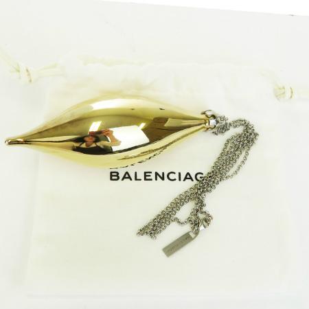 【中古】 バレンシアガ BALENCIAGA チェーン ネックレス ペンダント ゴールド シルバー メタル 保存袋 保存箱付き 62BE979
