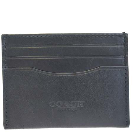 送料無料 【中古】 超美品 コーチ COACH カードケース 名刺入れ パスケース 定期入れ ブラック レザー 57101 07HC180