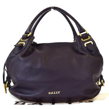 【中古】新型 超美品 バリー BALLY ショルダーバッグ パープル レザー 保存袋付き 66BE634