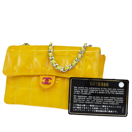 2c483442bfe Middle beauty product Chanel CHANEL chocolate bar waist porch shoulder 2WAY  chain here mark orange enamel 88BE361