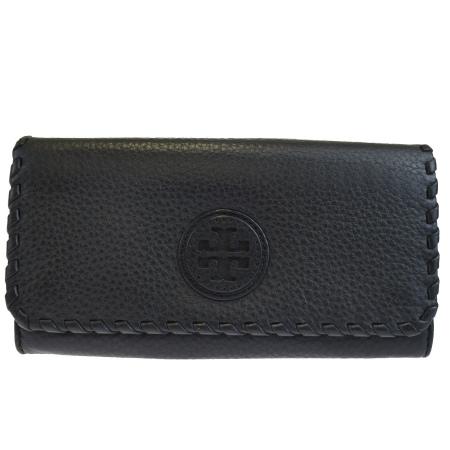 送料無料 【中古】 中美品 トリーバーチ TORY BURCH 二つ折り 長財布 ブラック レザー 09HC365