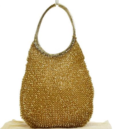 送料無料 【中古】 超美品 アンテプリマ ANTEPRIMA ワイヤー ショルダーバッグ ハンド ラインストーン ゴールド PVC 保存袋付き 09HC290