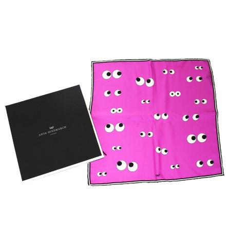 送料無料 【中古】 超美品 アニヤハインドマーチ スマイル ANYA HINDMARCH スカーフ 目玉 ピンク シルク 100% 保存箱付き 03HC417