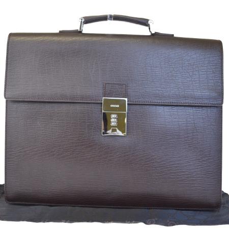 送料無料 【中古】 超美品 グッチ GUCCI ブリーフケース 書類かばん ビジネスバッグ ハンドバッグ ブラウン レザー メンズ 33EF311