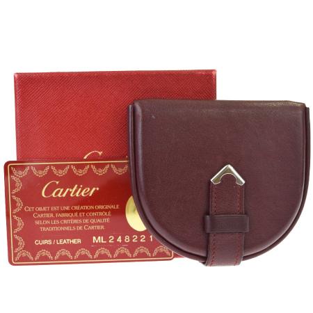 送料無料 【中古】 カルティエ Cartier マスト コインケース 小銭入れ 財布 ボルドーレッド レザー 09BE567