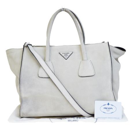 送料無料 【中古】 中美品 プラダ PRADA ハンドバッグ ショルダーバッグ 2WAYバッグ グレー スエード 保存袋付き 89EF370