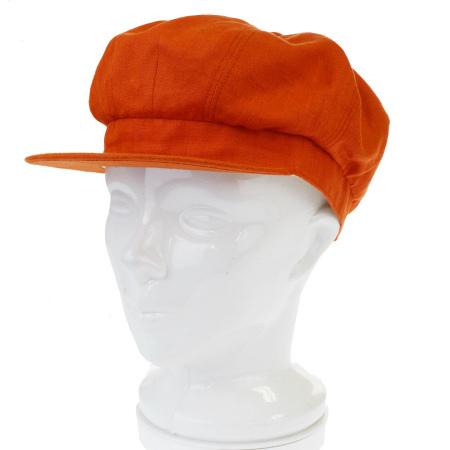送料無料 【中古】 外美品 モッチ エルメス MOTSCH HERMES キャスケット 帽子 オレンジ リネン 100% 57cm 09BE523