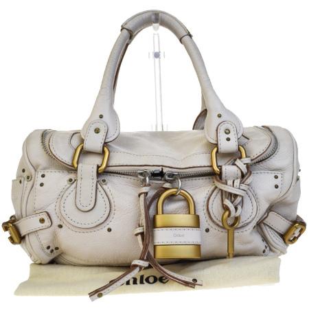 送料無料 【中古】 クロエ Chloe パディントン ショルダーバッグ アイボリー レザー パドロック 保存袋付き 60EF367