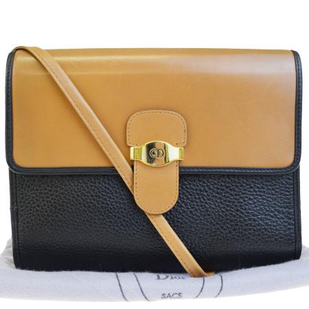 送料無料 【中古】 美品 クリスチャンディオール Christian Dior 斜め掛け ショルダーバッグ ブラウン ブラック レザー 保存袋付き 62EF355
