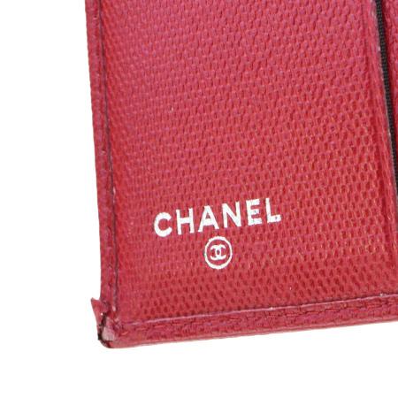 中美品 シャネル CHANEL 三つ折り 財布 ココマーク レッド レザー 02EF199oCxdBe