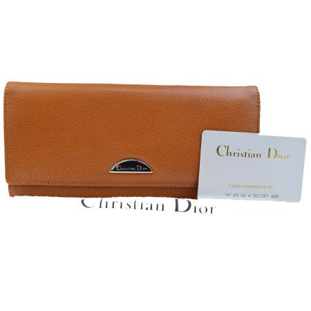 送料無料 【中古】 美品 クリスチャンディオール Christian Dior 二つ折り 長財布 ブラウン レザー 保存袋付き 07EF205
