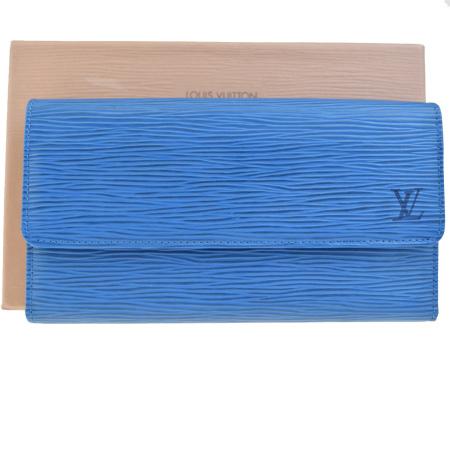 送料無料 【中古】 訳あり 超美品 ルイヴィトン LOUIS VUITTON ポルトトレゾール インターナショナル 三つ折り 長財布 エピ ブルー M63385 01EF235