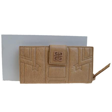送料無料 【中古】 美品 ジバンシー GIVENCHY 二つ折り 長財布 ベージュ レザー 保存袋 保存箱付き 05EF206