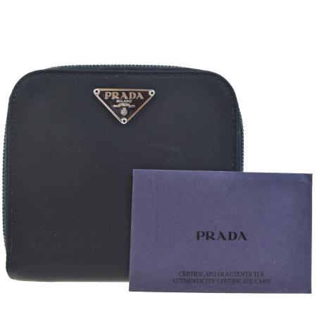 送料無料 【中古】 美品 プラダ PRADA ラウンドファスナー 二つ折り 財布 ブラック ナイロン レザー 05EF223