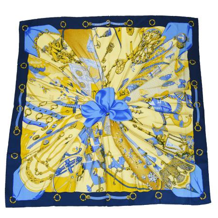 送料無料 【中古】 美品 エルメス HERMES カレ 大判 スカーフ soleil de soie シルクの太陽 ブルー シルク 100% 60BF802