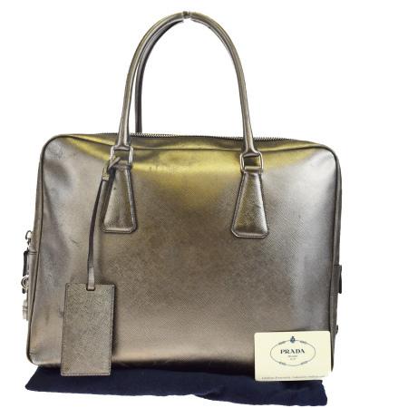 送料無料 【中古】 プラダ PRADA ハンドバッグ サフィアーノ ゴールド レザー パドロック 保存袋付き 61BF929