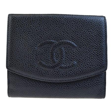 送料無料 【中古】 シャネル CHANEL 三つ折り 財布 ココマーク キャビアスキン ブラック レザー 65EF196