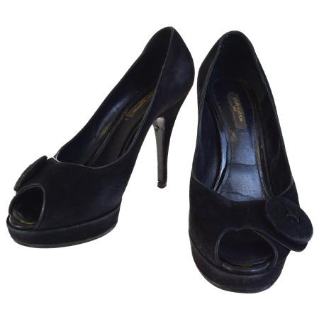 【中古】 ルイヴィトン LOUIS VUITTON パンプス オープントゥ ヒール 靴 ブラック ベロア レディース 37 24cm 01EF833
