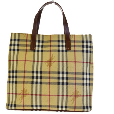 18914666a890 Sotomi product Burberry BURBERRY tote bag handbag Novacek beige brown PVC  leather made in Italy 63EF524