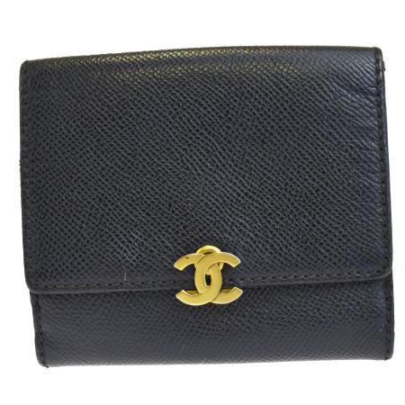 送料無料 【中古】 シャネル CHANEL 三つ折り 財布 ココマーク ブラック レザー 60BF578