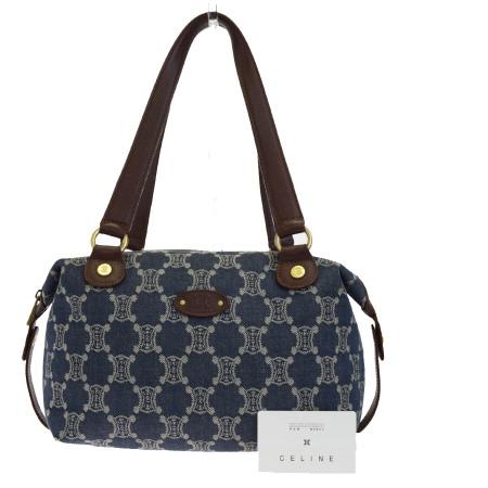 ecc9966153 Middle beauty product Celine CELINE Paris macadam shoulder bag handbag  denim blue brown canvas leather 01BF128