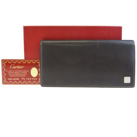 送料無料 【中古】 カルティエ Cartier 二つ折り 長財布 ブラウン レザー 保存箱付き 02EG005