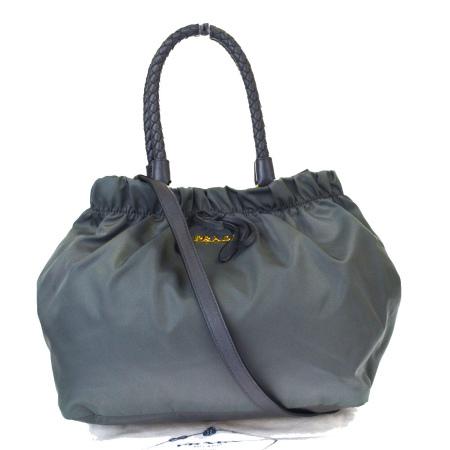 【中古】 中美品 プラダ PRADA ハンドバッグ ショルダーバッグ 2WAYバッグ グレー ナイロン レザー 保存袋付き 62EG482