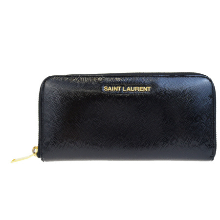 【中古】 サンローラン SAINT LAURENT ラウンドファスナー 長財布 ブラック レザー 63EG431