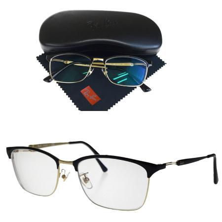 【中古】 美品 レイバン Ray-Ban メガネフレーム ブラック シルバー プラスチック メタル メガネ拭き ケース付き RB8751D 01HD386