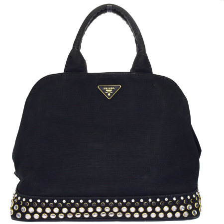 3c49889b766a Prada PRADA handbag studs rhinestone color stone black canvas leather  64BF646 ...