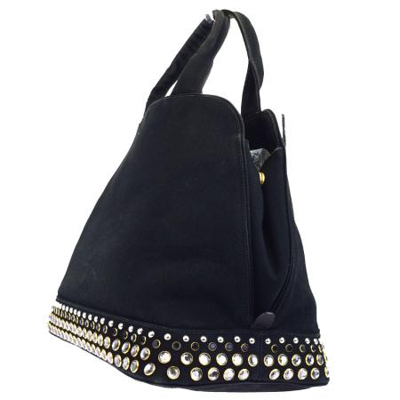 bad867c119d595 ... Prada PRADA handbag studs rhinestone color stone black canvas leather  64BF646 ...