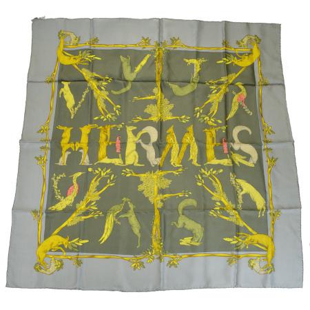 送料無料 【中古】 エルメス HERMES カレ 大判 スカーフ 動物柄 グレー シルク 100% 04BF805