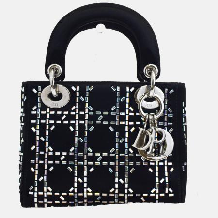 送料無料 【中古】 中美品 クリスチャンディオール Christian Dior レディディオール カナージュ ハンドバッグ ブラック サテン 保存袋付き 68EJ019