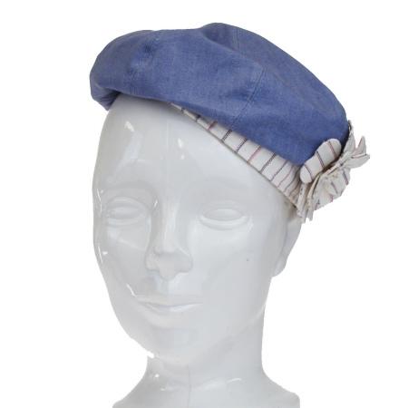 送料無料 【中古】 シャネル CHANEL 帽子 カメリア ココマーク ライトブルー ホワイト コットン レーヨン サイズ57 61EJ053