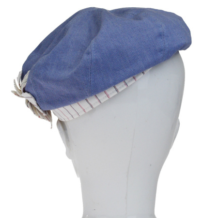 69915d2ba192c Chanel CHANEL hat camellia here Mark Wright blue white cotton rayon size 57  61EJ053