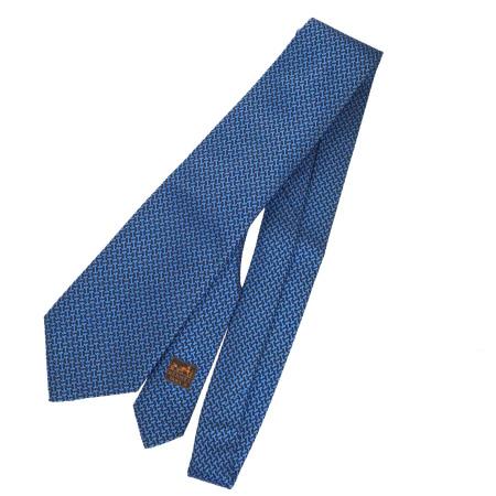 【中古】 超美品 エルメス HERMES ネクタイ ブルー シルク 100% メンズ 02EJ050