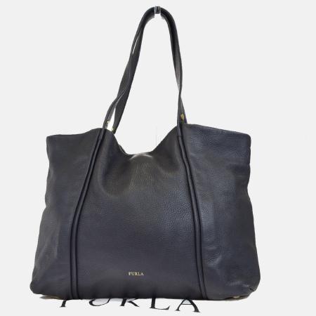 送料無料 【中古】 フルラ FURLA トートバッグ ショルダーバッグ グレー フルレザー 保存袋付き 07EG982