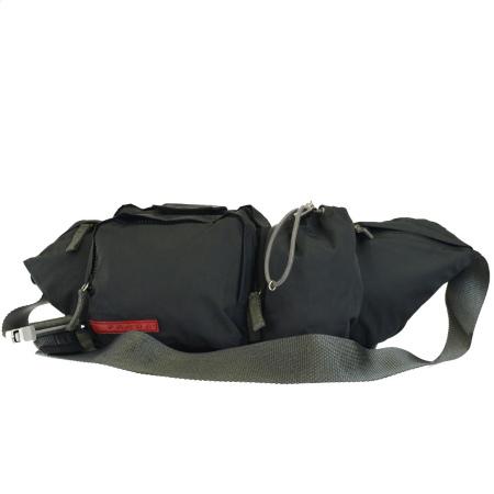 送料無料 【中古】 プラダスポーツ PRADA SPORT ウエストポーチ ボディバッグ グレー ナイロン 保存袋付き 37BF182