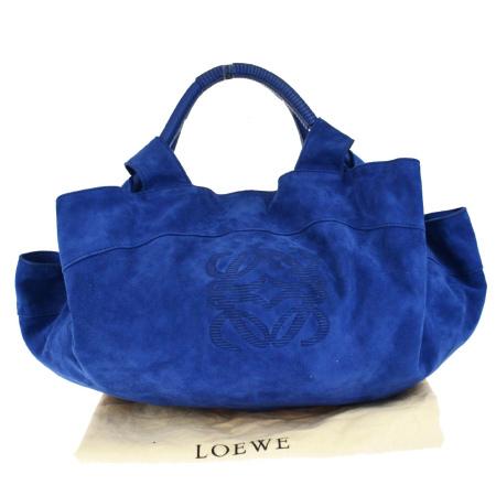 送料無料 【中古】 美品 ロエベ LOEWE アイレ ハンドバッグ ブルー スエード 保存袋付き 64BF542