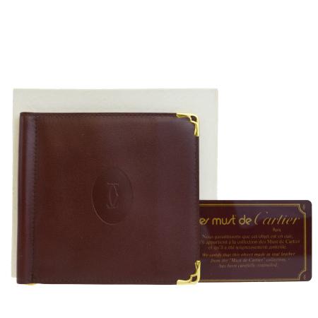 送料無料 【中古】 超美品 カルティエ Cartier マスト 二つ折り 札入れ 財布 ボルドーレッド レザー 保存箱付き 01BF572