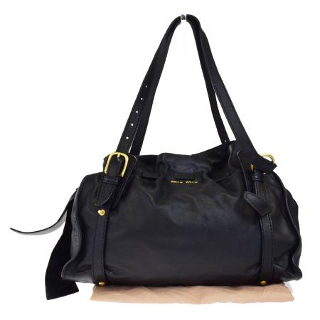 送料無料 【中古】 美品 ミュウミュウ miumiu ショルダーバッグ ブラック レザー 保存袋付き 61EG779